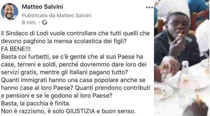 """Lodi, Salvini: """"Pacchia finita per gli scrocconi"""""""