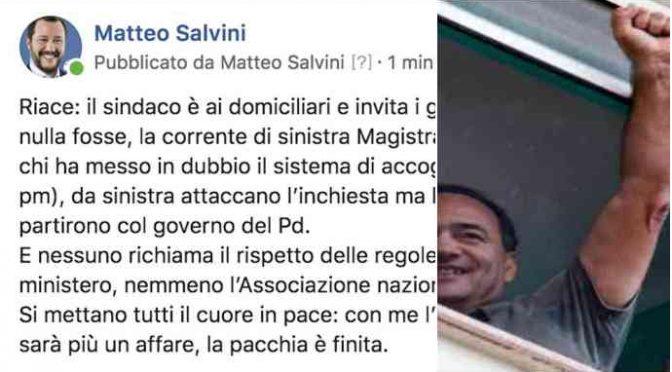 """Salvini: """"Lucano rilascia interviste come nulla fosse"""""""