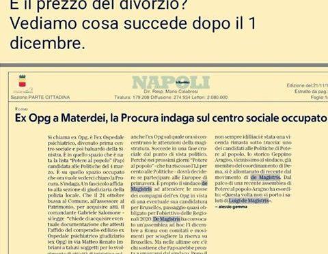 """""""Voto di scambio a Napoli: edifici in cambio di voti a De Magistris"""""""