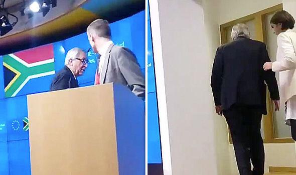 Juncker in conferenza con una scarpa nera e una marrone: arriva la badante – VIDEO