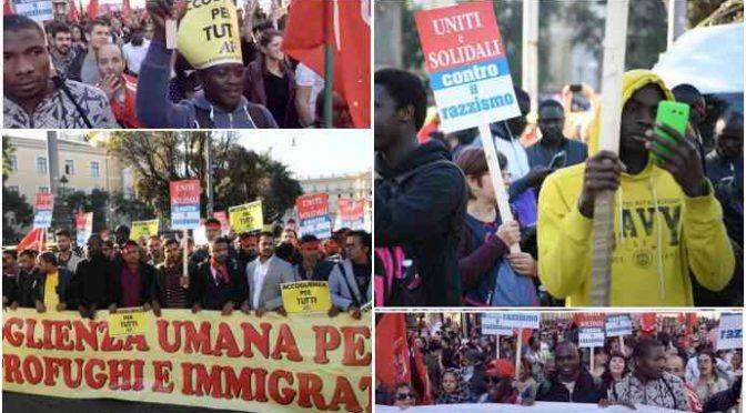 Manifestano a Roma contro taglio paghetta ai profughi – FOTO
