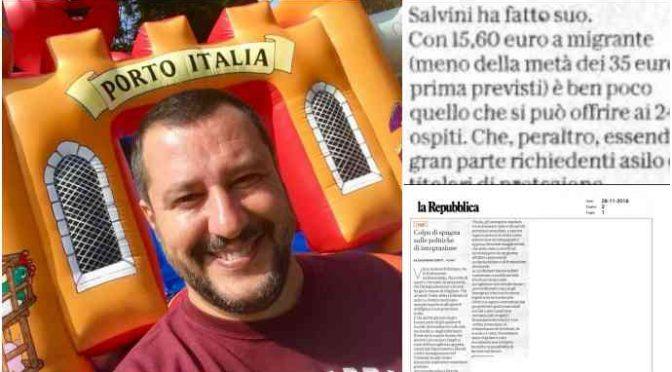 Salvini affonda il business: a profughi meno soldi di pensionati
