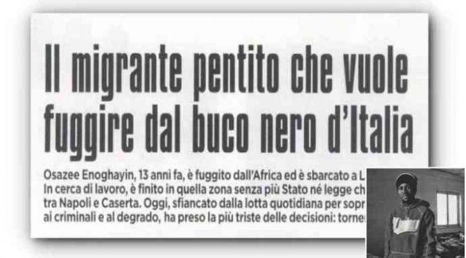 """Nigeriano deluso: """"Via dal buco nero Italia"""""""