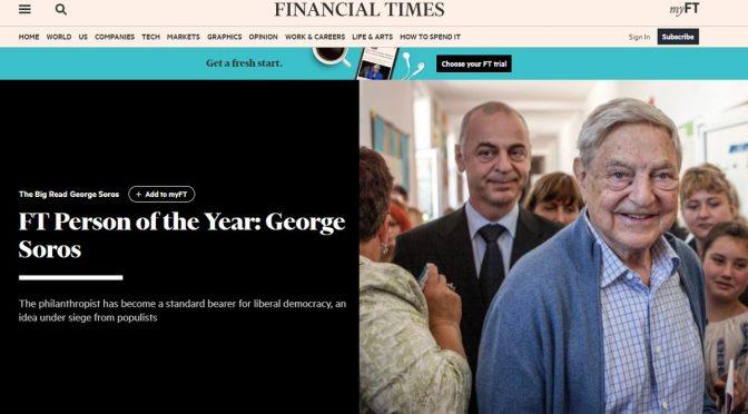 """Premio alla memoria per Soros è """"uomo dell'anno"""" del FT"""