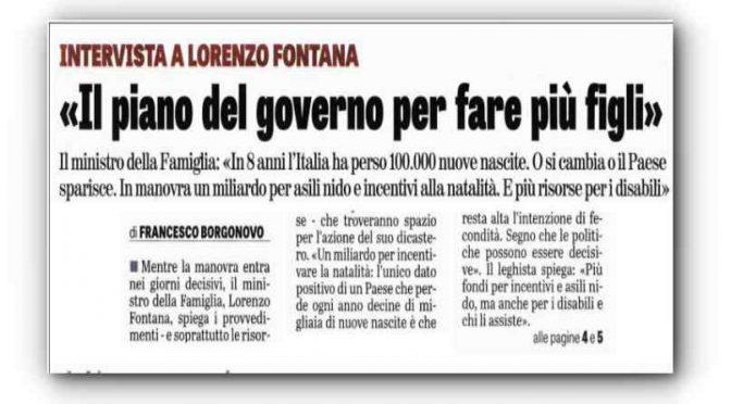 """Fontana va alla guerra demografica: """"1 miliardo per fare + figli"""""""
