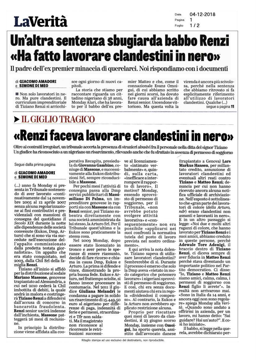 Renzi sfruttava clandestini in nero», la sentenza | Vøx