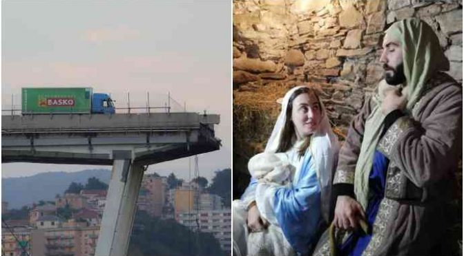 Finalmente un Presepe: famiglia superstite Morandi è Sacra Famiglia