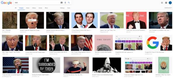 Google identifica Trump come 'idiota'
