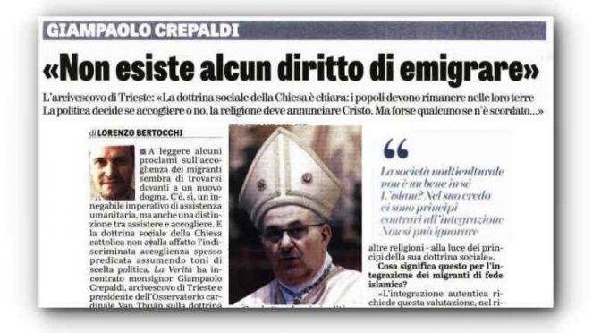 """Vescovo smonta Bergoglio: """"Non esiste diritto a emigrare"""""""