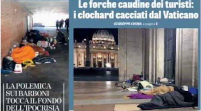 """Rimossi dal Vaticano i senzatetto italiani: altro che """"accogliere"""""""