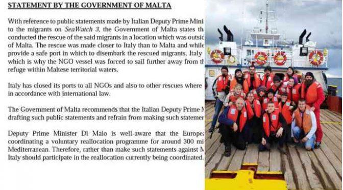 """Malta respinge Di Maio: """"Ong devono scaricare tutti i clandestini in Italia"""""""