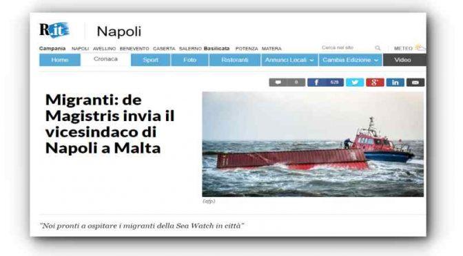 DeMagistris manda il vice a prendersi clandestini Malta