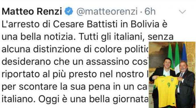 Battisti: Renzi finge esultanza, ma festeggiava con Lula