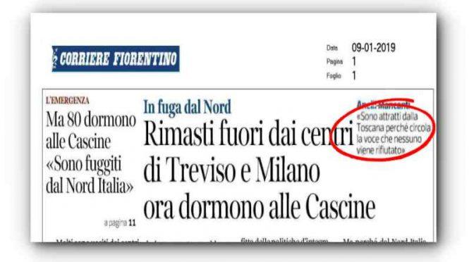 """Clandestini fuggono in Toscana: """"Qui governa il PD"""""""