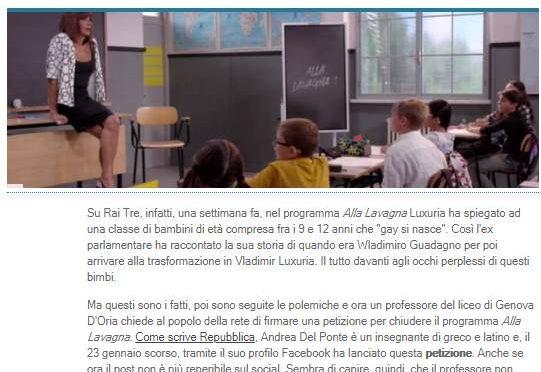 """Prof contro lezione per diventare trans di Luxuria: """"Basta pervertiti in tv"""""""