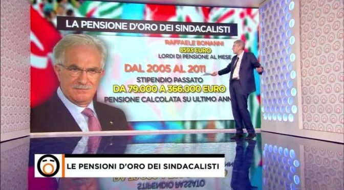 Ai sindacalisti il 60% in più di pensione – VIDEO