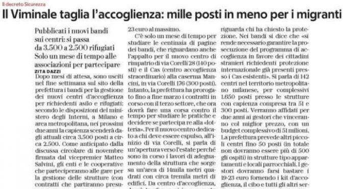 Salvini taglia l'accoglienza: 1.000 posti in meno a Milano