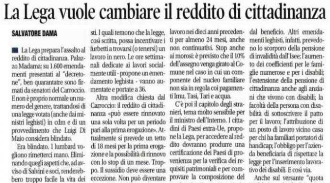 Reddito Cittadinanza, emendamento Lega lo darà solo a italiani