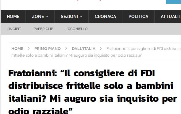 Regala frittelle ai bambini italiani, Sinistra chiede processo