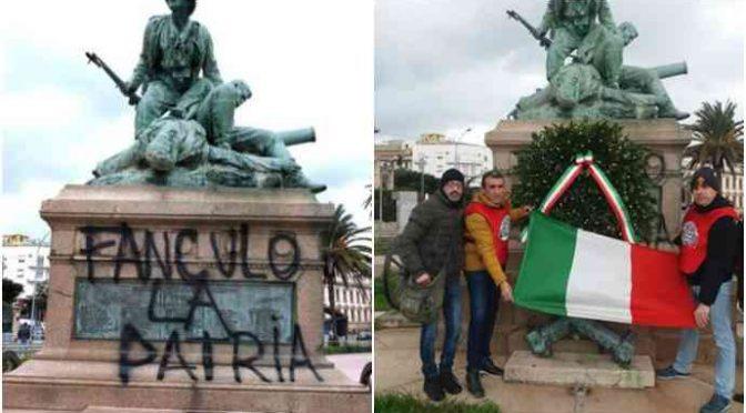 Patrioti sistemano monumento imbrattato da antirazzisti