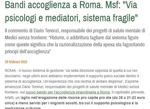 """Salvini taglia, Msf: """"Così impossibile supportare i profughi"""""""