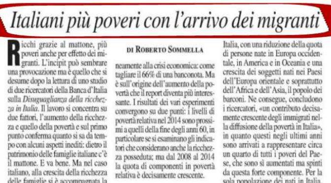 """Esperti confermano: """"Italiani più poveri grazie a immigrati"""""""