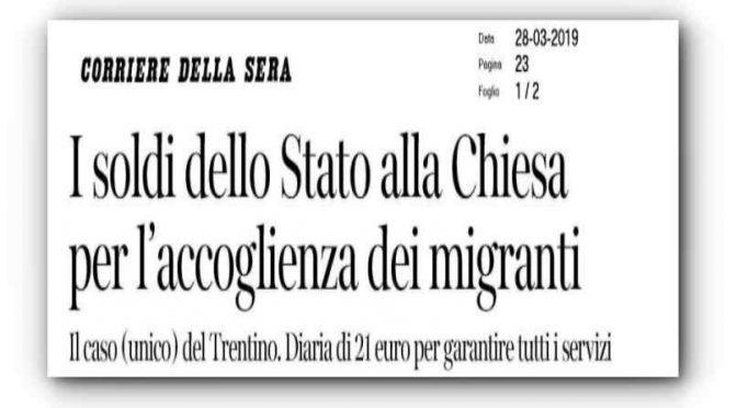 La Chiesa si prende tutti i profughi: ma con Salvini dimezza incassi