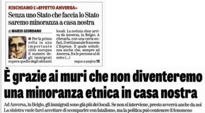 """L'allarme: """"Senza muri italiani saranno minoranza"""""""