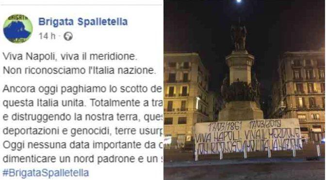Ultrà De Magistris contro l'Unità d'Italia: striscione choc