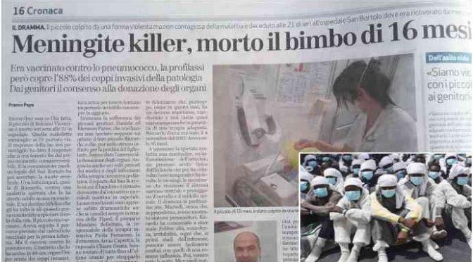 Meningite uccide bimbo: ceppo non coperto da vaccini
