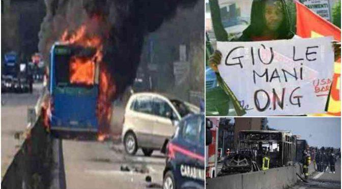 Bus incendiato, senegalese aveva video rivendicazione contro porti chiusi