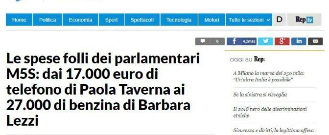 Le spese pazze di Paola Taverna? Inventate da Repubblica