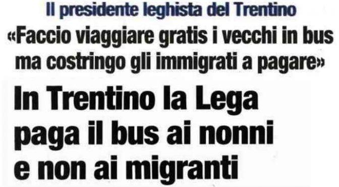 """Lega: """"Anziani viaggiano gratis, profughi no"""""""