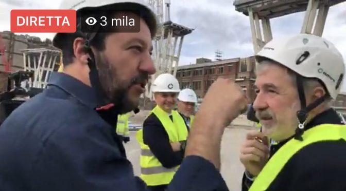 Salvini tra la gente del Ponte Morandi: inizia ricostruzione – VIDEO