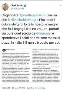 """Rubio offende Salvini: """"…rotto il culo"""""""