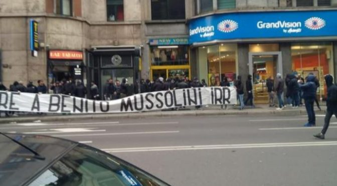 Ultras Lazio 'vendicano' Mussolini a Piazzale Loreto
