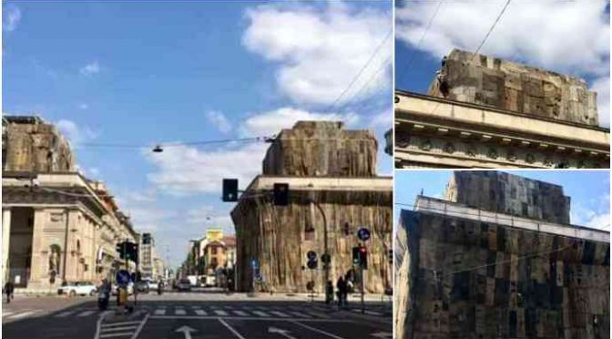 'Artista' africano ricopre monumenti Milano di juta – VIDEO