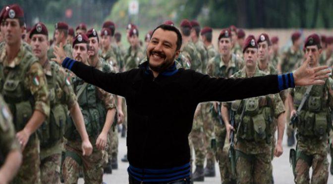 """SALVINI CHIAMA I MILITARI: """"E' ATTACCO ALL'ITALIA, DIFENDETE LE FRONTIERE"""" – VIDEO"""