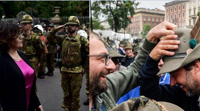 Salvini indossa il cappello da Alpino, Trenta lo rifiuta – VIDEO