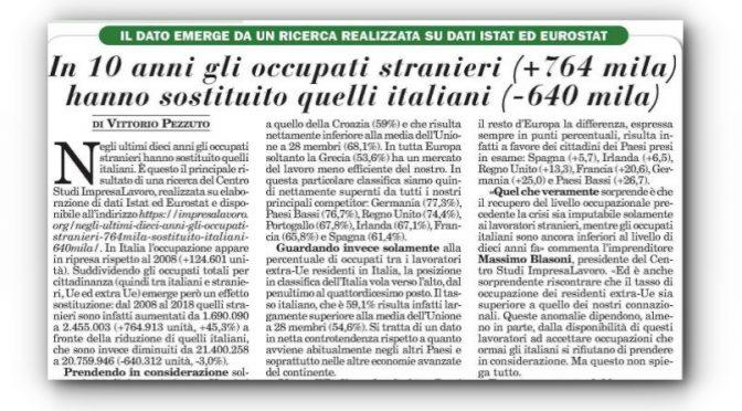 E' ufficiale: lavoro, immigrati sostituiscono i giovani italiani