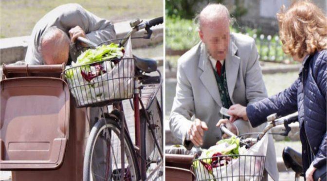 Anziano cerca cibo in spazzatura nella città dei profughi – FOTO