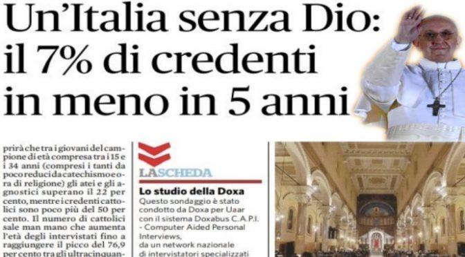 Effetto Bergoglio: crolla numero di cristiani in Italia