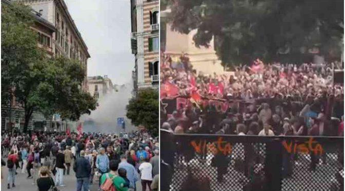 Assalto, antifà lanciano bombe carta contro polizia: violenza rossa a Genova – VIDEO