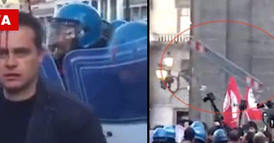 Armati di transenne tentano di raggiungere Salvini: teppisti rossi scatenati  – VIDEO