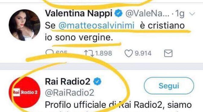 Radio Rai condivide il post anti-Salvini della pornoattrice