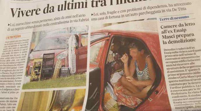 Clandestino in casa abusiva, italiana in auto – FOTO CHOC A PESCARA