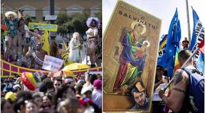 Roma Pride: Bella Ciao, Madonna blasfema e slogan anti-Lega