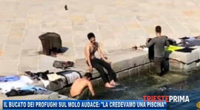 """Clandestini fanno il bucato in porto Trieste: """"Poi andiamo a chiedere asilo"""""""
