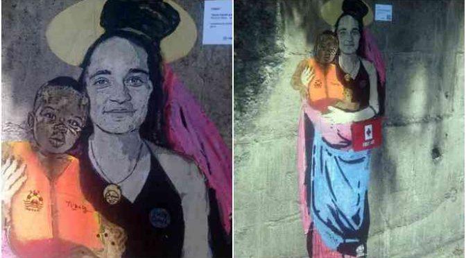 A Taormina graffito per Carola, la trafficante umanitaria di Sea Watch