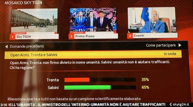 Open Arms, Salvini resiste e italiani stanno con lui: 65% contro la cacasotto Trenta